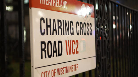 Street Sign Charing Cross Road London - LONDON, ENGLAND stock footage