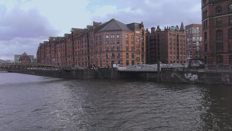 Port of Hamburg Warehouse district called Speicherstadt - HAMBURG, GERMANY DECEM Footage