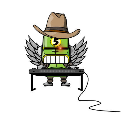 Robot In Cowboy Hat And Angel Wings Playing Keyboard stock footage
