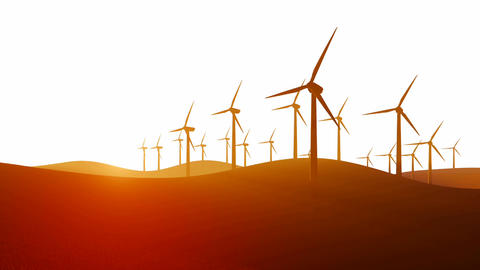 Silhouettes Of Wind Turbines On White Background stock footage