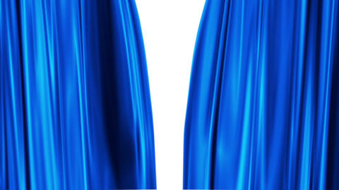 Blue Curtains Open, White Background stock footage