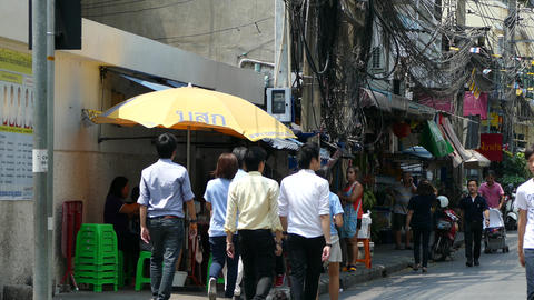 Office People Walking During Lunch Time In Silom stock footage