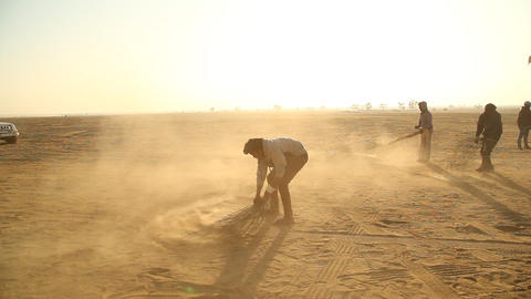 Indian People Working In Desert stock footage