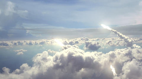 Realistic Animation Of Launched Missiles, Flying Above The Clouds. ProRes Codec stock footage
