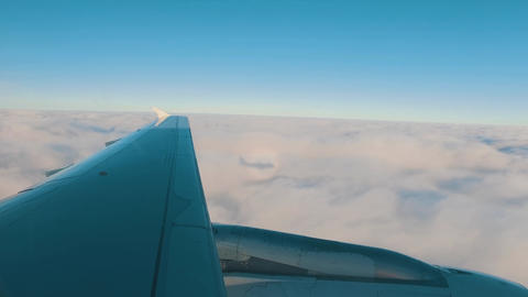 Airplane Is Flying Above The Clouds stock footage