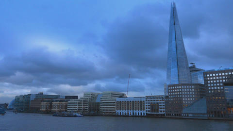 The Shard Building London in the evening January 16 2016 Footage