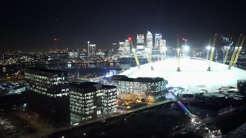 Aerial view of O2 London on a foggy day from rope way aerial passenger line - LO Footage