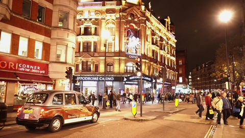 London Charing Cross Road At Leicester Square Hippodrome Casino - LONDON, ENGLAN stock footage