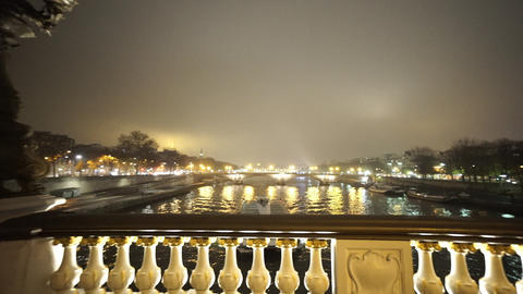 River Seine From Alexandre III Bridge In Paris In A Misty Night stock footage