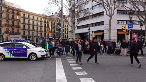 Citizen And Tourist Cross Road, Walk To Catalonia Square, POV Camera stock footage