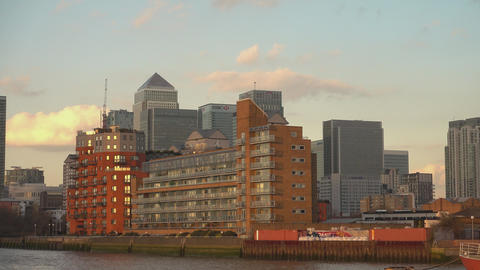 Modern Canary Wharf skyline from River Thames - LONDON,ENGLAND FEBRUARY 20, 2016 Footage
