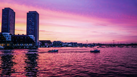 Timelapse Of Fantastic Glow Above The Atlantic, Boston stock footage