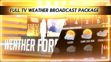 Weather Forecast Broadcast Package - Virtual Studio stock footage