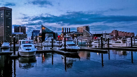 The Panoramic View Of Inner Harbor At Night, Baltimore stock footage
