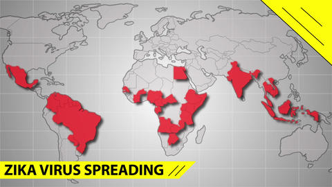 Zika virus spreads world map illustration Footage