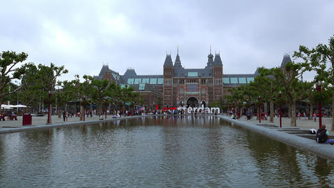 Netherlands Videoclip National Museum Called Rijksmuseum At Museum Square City O stock footage