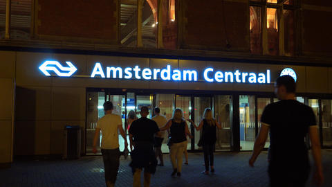Main Entrance of Amsterdam Central Station by night City of Amsterdam Footage