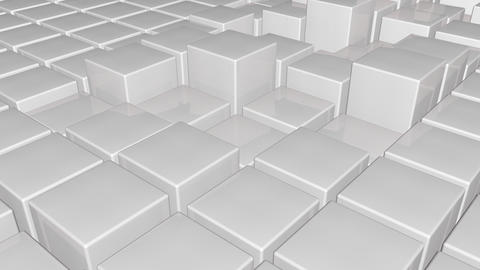 White 3d glossy plastic cubes smoothly going up and down - abstract technology b Animation