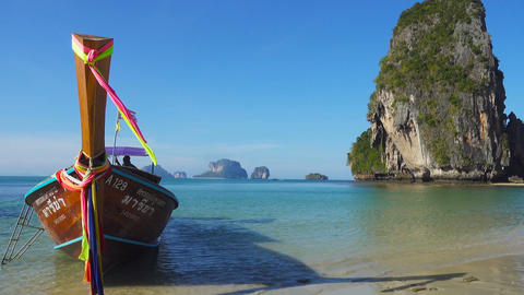 Long Tail Boat On Tropical Beach, Thailand stock footage