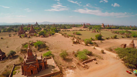 Flying Up Over Temples In Bagan, Myanmar stock footage