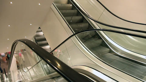 Moving Elevator In European Shopping Mall stock footage