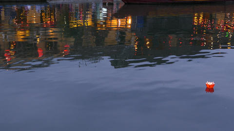 Floating Lantern At The Thu Bon River In The Old Town Of Hoi An stock footage