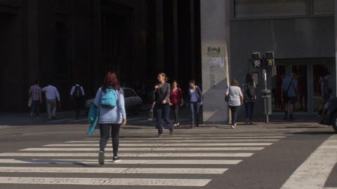 People crossing the street in Buenos Aires series 1 Footage