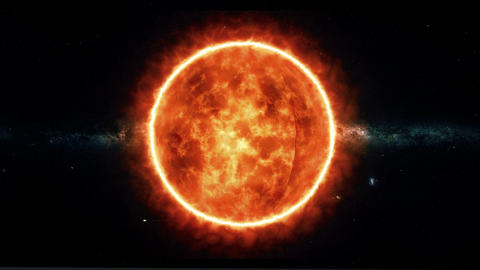 Sun With Flares Rotate In Space stock footage