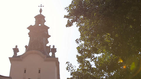 Views Of The Church On A Sunny Day, Lviv, Cathedral Church stock footage