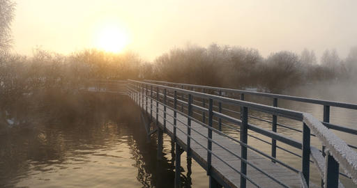 Lake Pier In Misty Dawn In Winter stock footage