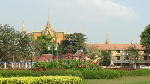 The Royal Palace Seen From Wat Bottom Park In Phnom Penh stock footage