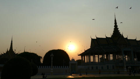 Sunset At The Moonlight Pavilion In Phnom Penh Cambodia stock footage