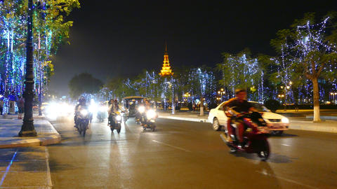 Time Lapse From Traffic At Night In Phnom Penh stock footage