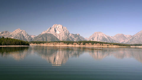 Jackson Lake And Teton Mountains stock footage