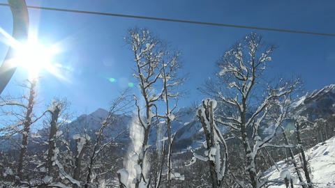 Ski lift in the valley, the ski resort of Krasnaya Polyana Footage