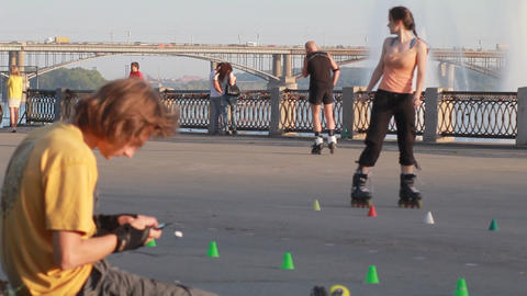 People Ride On Roller Skates. Urban, Sports stock footage