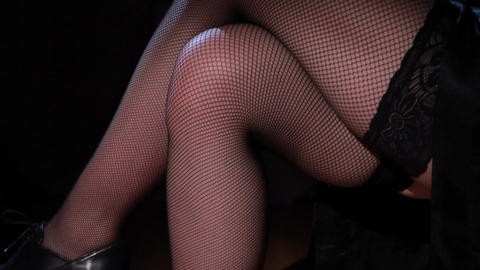 Beautiful Female Legs In Stockings stock footage