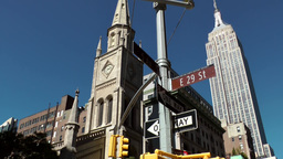 New York City 534 East 29 St Ave Marble Collegiate Church Empire State Building stock footage