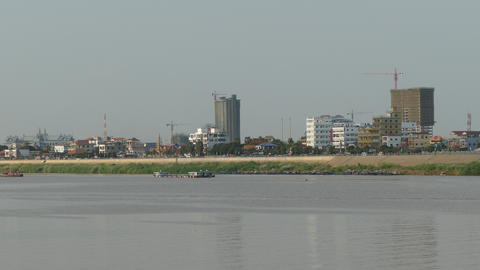 Buildings At The Tonle Sap River Side In Phnom Penh stock footage
