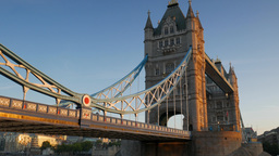 Wide Static Shot Of Tower Bridge On A Stunning Clear Autumn Morning With Beautif stock footage