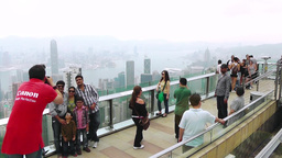 Tourists On The Observation Deck At The Victoria Peak stock footage