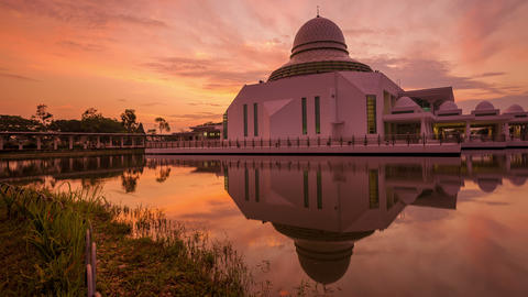 Majestic Sunrise Time Lapse at a Mosque by a lake Footage