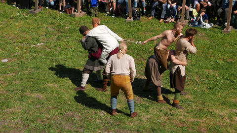Fun Competition, Drag Rope Battle, Three Man Teams During Viking Age Show stock footage