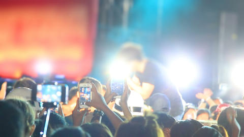 Concert Crowd With Smartphones Shooting Rock Star stock footage