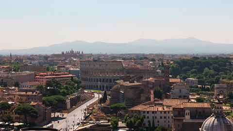 Rome Timelapse Of Colosseum And The Roman Forum In Rome, Italy, Aerial View stock footage