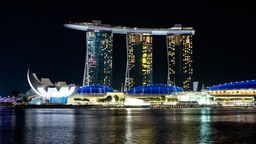Singapore Timelapse Big City At Night Zoom Out stock footage