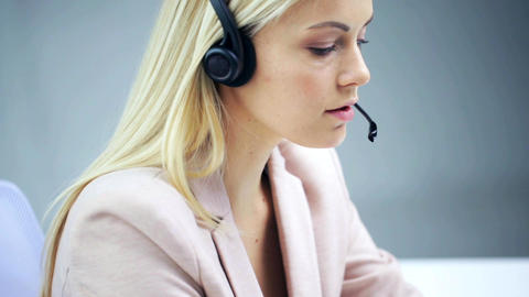 Businesswoman With Headset Talking At Office stock footage