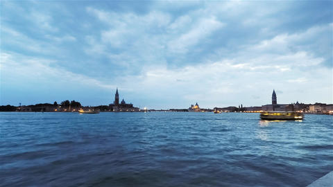 Rotation Panoramic Clouds Timelapse Of Venice, Italy At Dusk stock footage