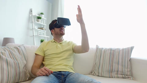 man in virtual reality headset playing game Footage