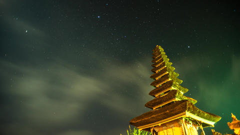 Star Trail Timelapse at Pura Ulun Danu Bratan Footage